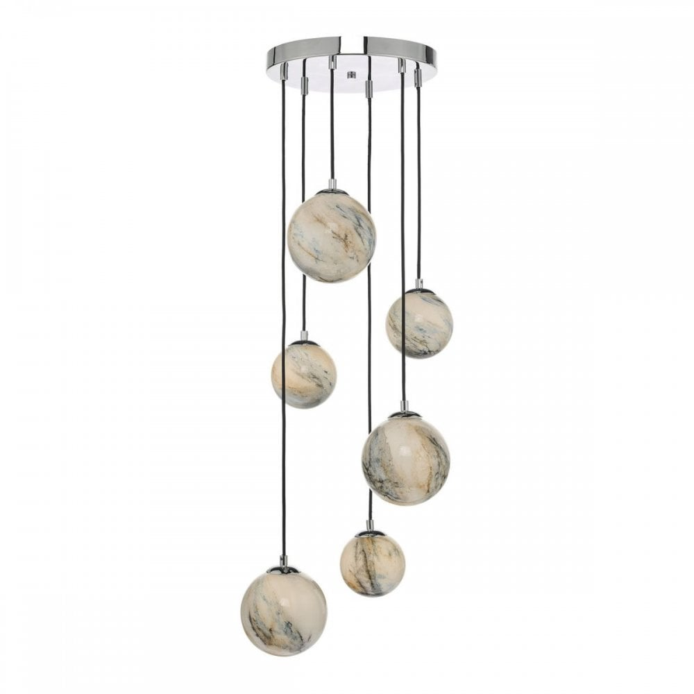 Mikara 6 Light Cer Pendant Marble Effect Gl Polished Chrome
