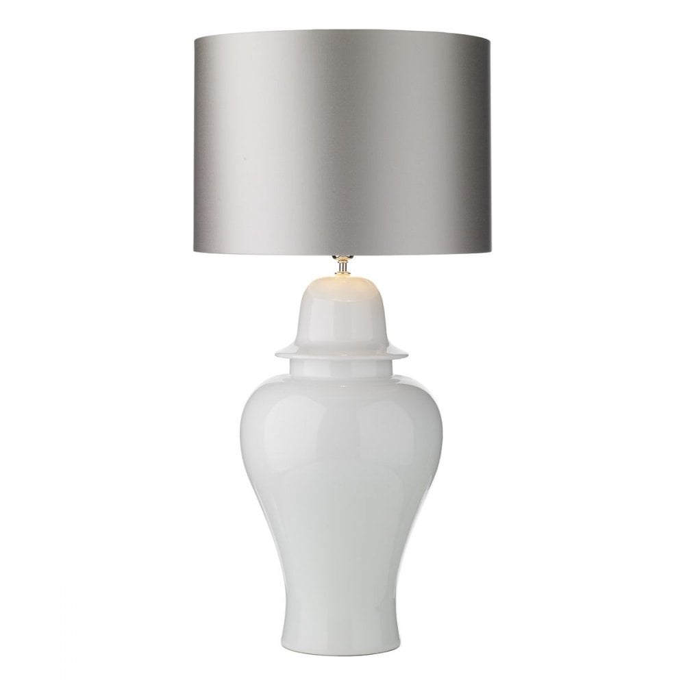 Vaughn Ginger Jar Table Lamp Large Cloud Satin Shade